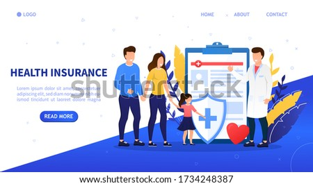 Family health insurance concept. A young happy family comes to insure. Attractive characters buy a family health insurance plan. Family protection. Professional medical consultation. Flat Vector