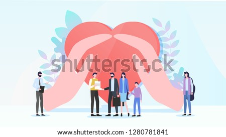 Family Health Insurance Flat Vector Concept. Parents with Child Taking Policy From Agent or Insurance Company Manager, Hands Embracing Human Heart Illustration. Life Safety and Medical Care Guarantee