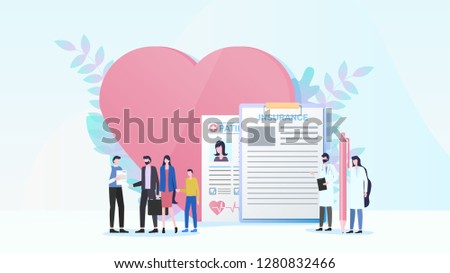 Family Health Insurance Flat Vector with Father Shaking Hand to Insurance Agent, Couple with Child Receiving Insurance Policy, Patients Signing Contract with Doctor Illustration. Medical Care Concept