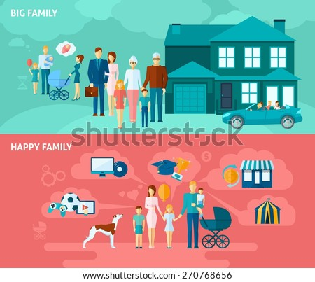 Family horizontal banner set with happy people relationships elements isolated vector illustration