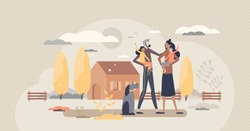 Family house as home property for couple with children vector illustration. Building ownership for living in countryside together parents with kids and dog vector illustration. Happy childhood scene.