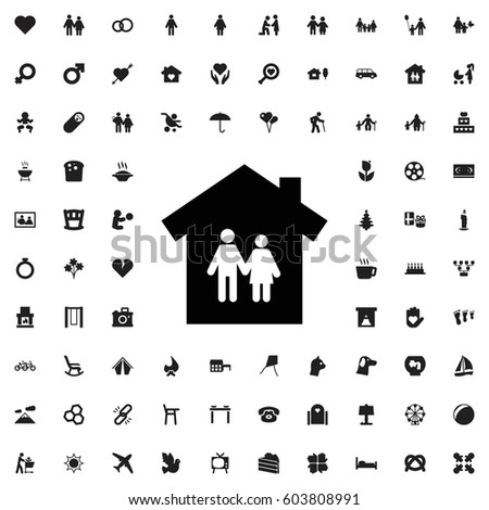 Family house icon illustration isolated vector sign symbol. family icons vector set.