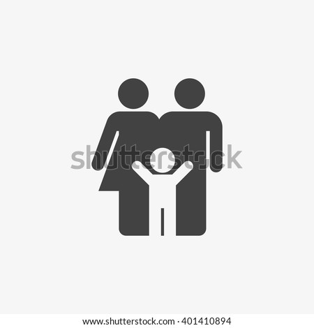 Family Icon in trendy flat style isolated on grey background. Parents symbol for your web site design, logo, app, UI. Vector illustration, EPS10. - Shutterstock ID 401410894