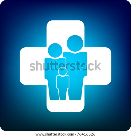 Family icon inside a health care cross