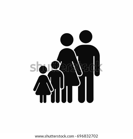 Family icon. Vector isolated family silhouette illustration.