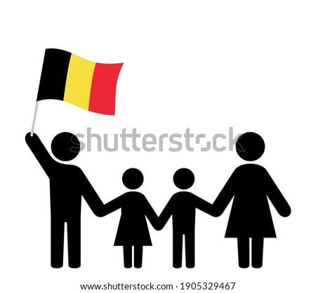 Family icon with belgian flag Photo stock ©