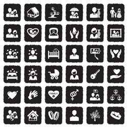 Family Icons. Grunge Black Flat Design. Vector Illustration.