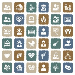 Family Icons. Grunge Color Flat Design. Vector Illustration.