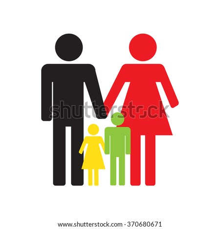 Family icons on a white background  flat design