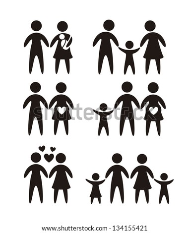family icons over white background. vector illustration