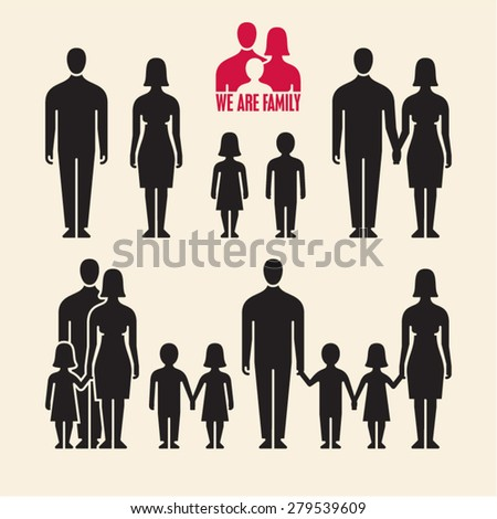 Family icons. People icons. People vector silhouette.