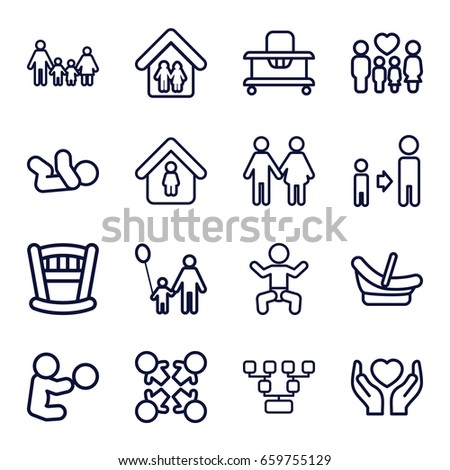 Family icons set. set of 16 family outline icons such as baby, baby walker, man in home, son and father, hands holding heart, father and son