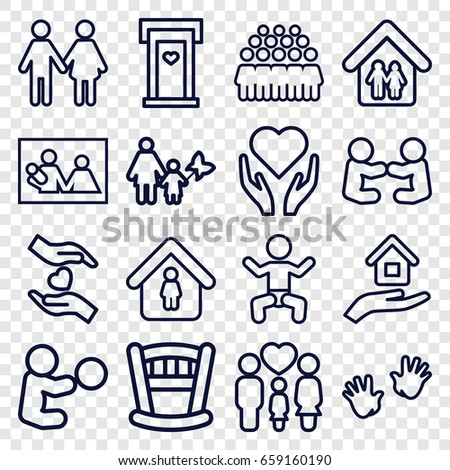 Family icons set. set of 16 family outline icons such as baby, door with heart, man in home, group, hands holding heart, house insurance, mother and son