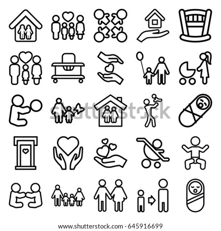 Family icons set. set of 25 family outline icons such as baby, door with heart, son and father, hands holding heart, house insurance, father and son, roundelay, mother and son