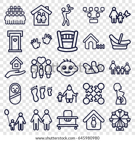 Family icons set. set of 25 family outline icons such as door with heart, baby, baby food, house, man in home, group, pregnant woman, house insurance, father and son