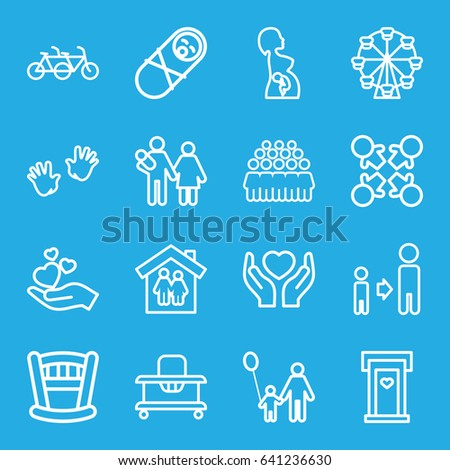Family icons set. set of 16 family outline icons such as door with heart, baby walker, baby hands, son and father, group, hands holding heart, hand holding heart
