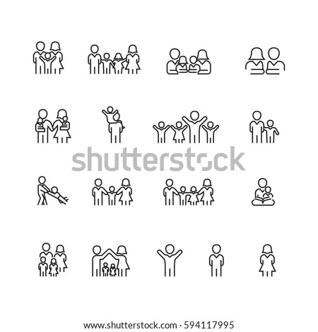 Family icons set, Vector #594117995