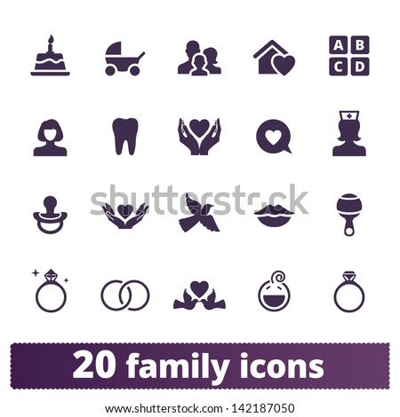 Family icons: vector set of home, love, baby, engagement, wedding signs