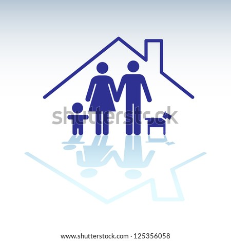 Family in a house, symbol - illutration