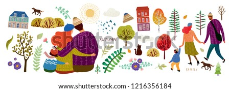 Family in autumn, create your cute card! Set of vector elements: family, mother, father, child, dog, birds, sun, clouds, buildings, trees, plants, ornament, leaves, pattern