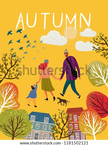 family in autumn  vector