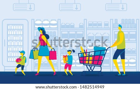 Family in Mall. Father with Grocery Cart. Mother and Kids Carrying Bags and Gifts. Holiday Sale in Supermarket. Consumerism and Lifestyle Concept. Summer Vacation. Family Together. Vector