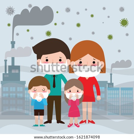 family in masks because of fine dust PM 2.5, covid-19 man and woman and child,wearing mask against smog. Fine dust, air pollution, industrial smog protection concept flat design vector illustration