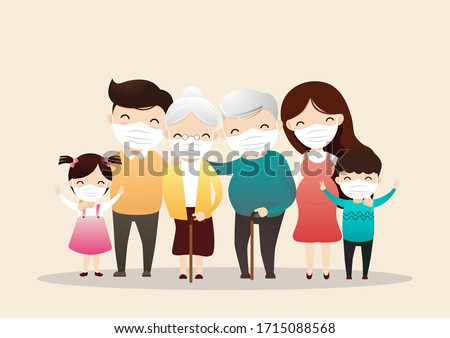 Family in medical masks. Family is protecting their children and them from virus COVID-19 and are wearing masks and stop the spread of viruses.  Vector, illustration, ,flat style, esp.