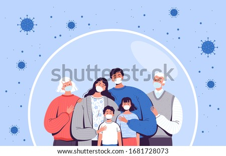Family in medical masks stands in a protective bubble. Adults, old people and children are protected from the new coronavirus COVID-2019