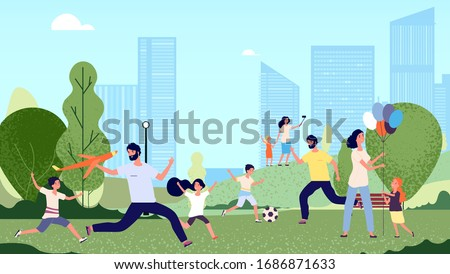 Family in park. City park activity, season walk pleisure. Happy kids woman man jumping and playing. Parents walking with children vector illustration