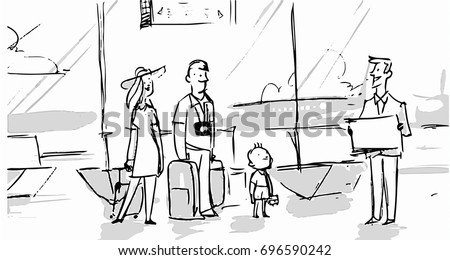 family in the airport going to