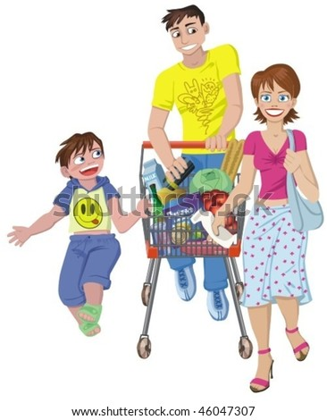 Family in the supermarket  with metal shopping trolley filled with products isolated on white.