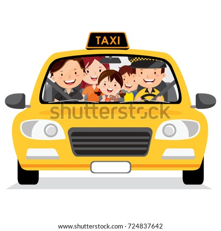 Family in the taxi cab