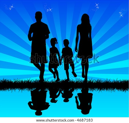 Family in water - reflection , vectors work