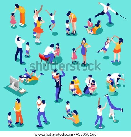 Family Isometric People Set. 3D flat children and parents. Interacting people collection infographic isolated elements. Parenting scene children education nuclear family moments vector illustration.