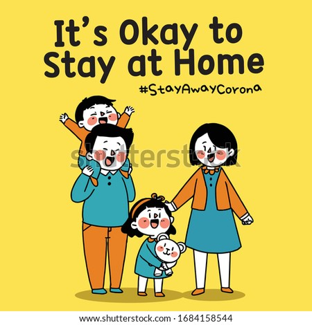 Family It's Okay to Stay at Home Corona COVID-19 Campaign Sticker Illustration