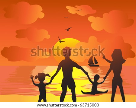 family joyful in the sunset