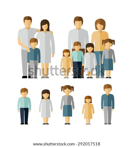 family kids parents flat people