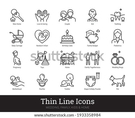 Family, kids thin line icons. Vector collection linear pictogram related to home, household, love, baby birth, holidays, engagement, wedding. Isolated vector set on white background. Editable strokes.