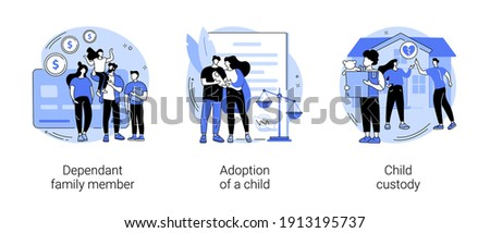 Family law abstract concept vector illustration set. Dependant family member, adoption of a child, custody and alimony, parents divorce, samesex couple, elderly support, caregiver abstract metaphor.