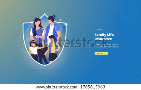 Family life care insurance on illustration concept