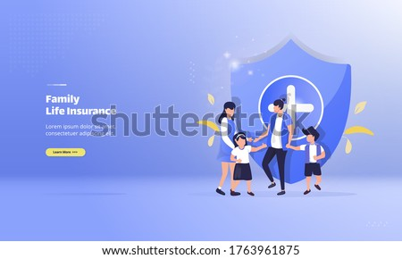 Family life insurance concept, illustration of protect the family