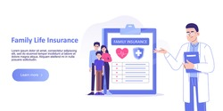 Family Life Insurance concept. Young Family or People having Examination in Hospital Office and filling Medical Document Form. Family protection. Healthcare. Landing page template. Vector illustration