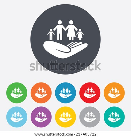Family life insurance sign. Hand holds human group symbol. Health insurance. Round colourful 11 buttons. Vector