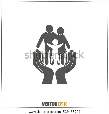 Family life insurance sign icon. Hands protect human. Vector