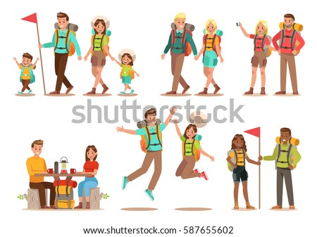 Family lifestyle. Family travel time. Happy family go to Camping. Vector illustration design.