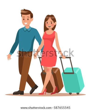 Family lifestyle. Family travel time. Happy family go to travel. Vector illustration design.