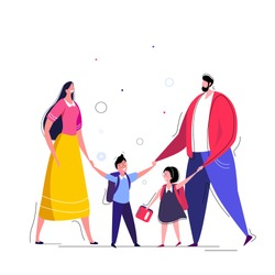 Family lifestyle Parents take their children to the school in the morning Happy kids go to school. A pupils children walking back to studying with their parents. Bright family Flat vector illustration