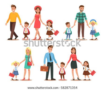Family lifestyle. Parents take their children to the school in the morning. Happy kids go to school.