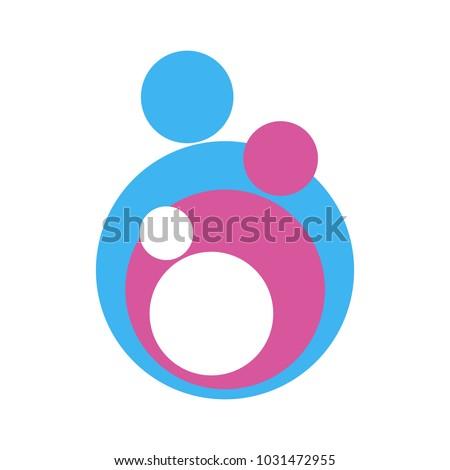 Family logo, happy family colorful icon